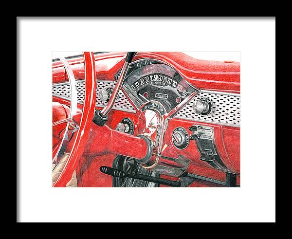 Classic Framed Print featuring the drawing 1955 Chevrolet Bel Air by Rob De Vries