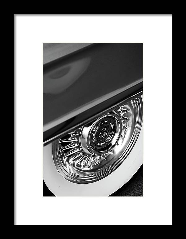 Car Framed Print featuring the photograph 1956 Cadillac Eldorado Wheel Black And White by Jill Reger