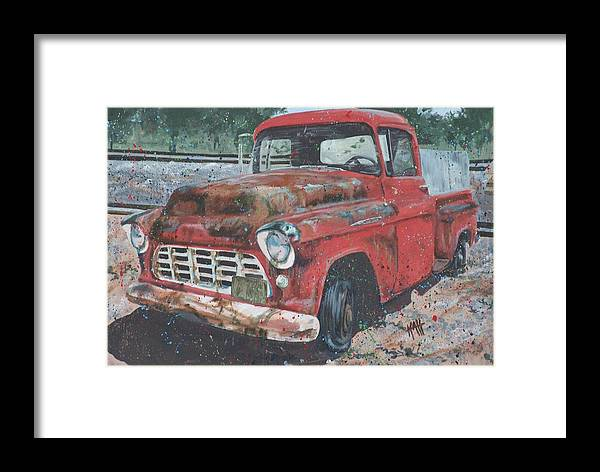 Painting Framed Print featuring the painting 1956 Chevy Pickup by Les Katt