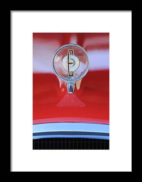1958 Edsel Ranger Framed Print featuring the photograph 1958 Edsel Ranger Hood Ornament 2 by Jill Reger