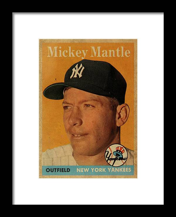 1958 Framed Print featuring the mixed media 1958 Topps Baseball Mickey Mantle Card Vintage Poster by Design Turnpike