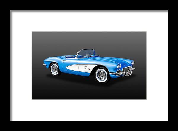 Frank J Benz Framed Print featuring the photograph 1961 C1 Chevrolet Corvette - 61chvetcv900 by Frank J Benz