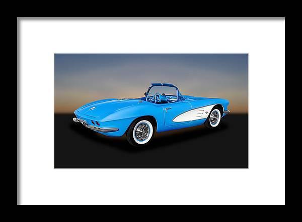 Frank J Benz Framed Print featuring the photograph 1961 Chevrolet C1 Corvette - 61chvetcv350 by Frank J Benz