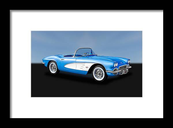 Frank J Benz Framed Print featuring the photograph 1961 Chevrolet C1 Corvette  -  61vettecv800 by Frank J Benz