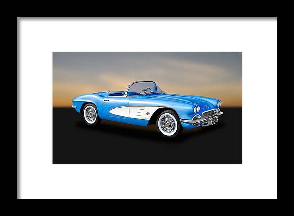 Frank J Benz Framed Print featuring the photograph 1961 Chevrolet C1 Corvette Convertible  -  61vette700 by Frank J Benz