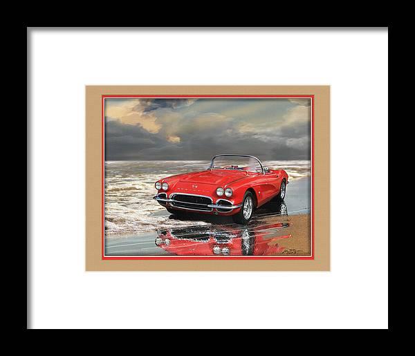 Chevy Vette Corvette Framed Print featuring the painting 1962 Corvette by John Breen