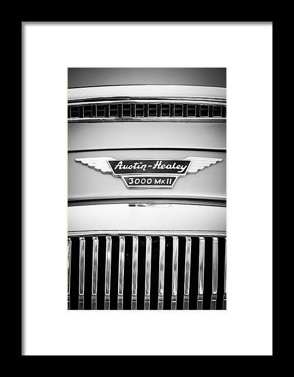 1963 Austin-healey 3000 Mk Ii Grille Emblem Framed Print featuring the photograph 1963 Austin-healey 3000 Mk II Black And White by Jill Reger