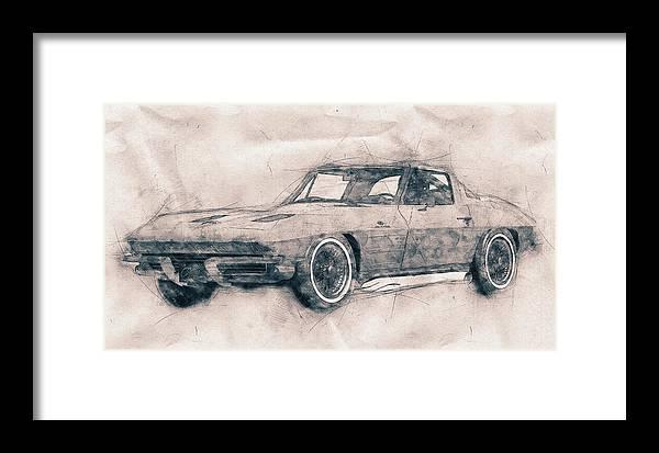 Chevrolet Corvette Framed Print featuring the mixed media 1963 Chevrolet Corvette Sting Ray - 1963 - Automotive Art - Car Posters by Studio Grafiikka