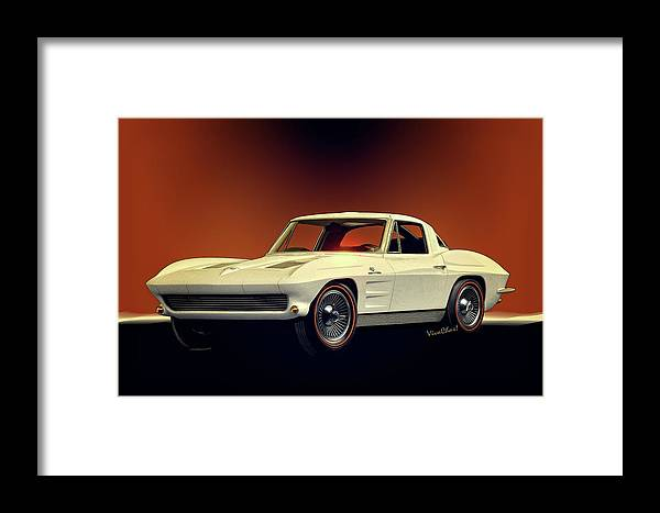 1963 Framed Print featuring the digital art 1963 Corvette 2nd Generation by Chas Sinklier