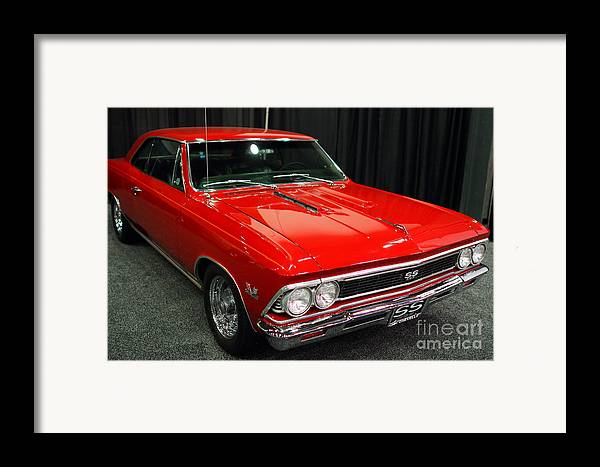 Transportation Framed Print featuring the photograph 1966 Chevy Chevelle Ss 396 . Red . 7d9278 by Wingsdomain Art and Photography