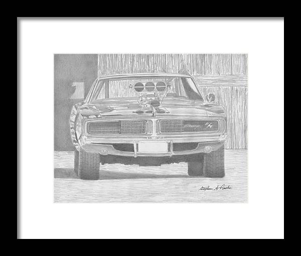 1969 Dodge Charger Rt Front View Muscle Car Art Print Framed Print