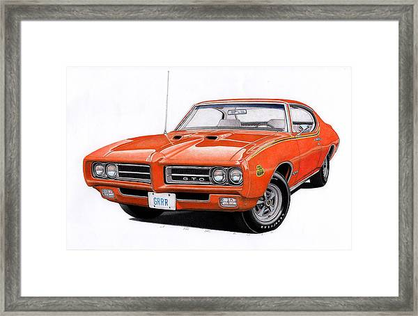 1969 pontiac gto framed print by james robertautomotive art framed print featuring the drawing 1969 pontiac gto by james robert