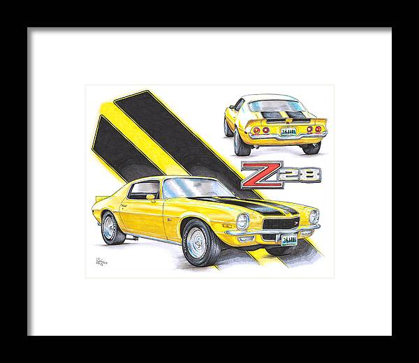 1970 Framed Print featuring the drawing 1970 Chevy Camaro Z28 by Shannon Watts