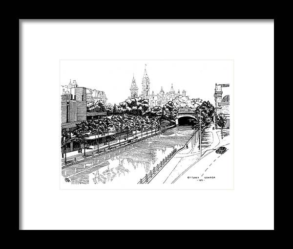 Cityscape Framed Print featuring the drawing 1971 Rideau Canal Ottawa by John Cullen
