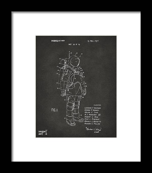 Space Suit Framed Print featuring the digital art 1973 Space Suit Patent Inventors Artwork - Gray by Nikki Marie Smith