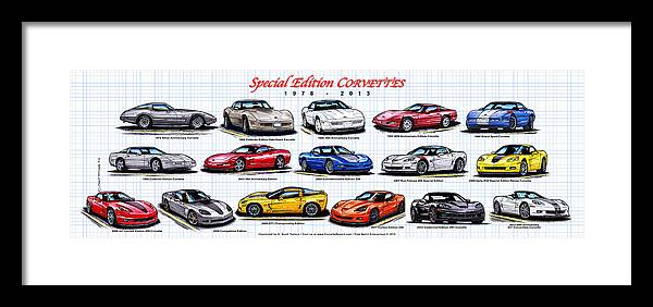 Silver Anniversary Corvette Framed Print featuring the digital art 1978 - 2011 Special Edition Corvettes by K Scott Teeters