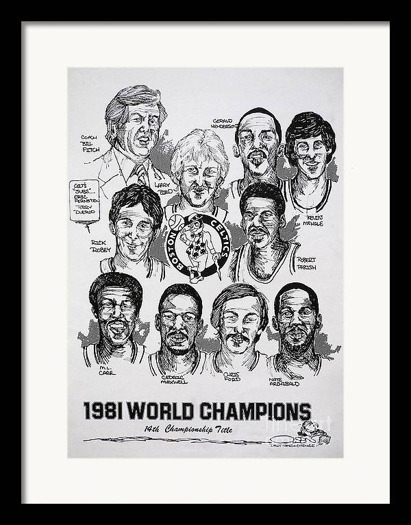 Nba Framed Print featuring the drawing 1981 Boston Celtics Championship Newspaper Poster by Dave Olsen