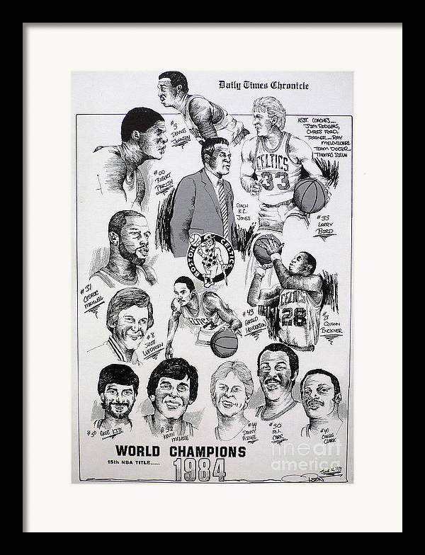 Nba Framed Print featuring the drawing 1984 Boston Celtics Championship Newspaper Poster by Dave Olsen
