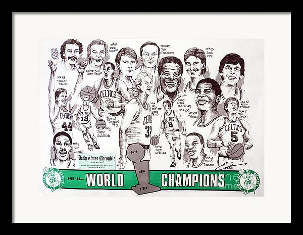 Nba Framed Print featuring the drawing 1986 Boston Celtics Championship Newspaper Poster by Dave Olsen