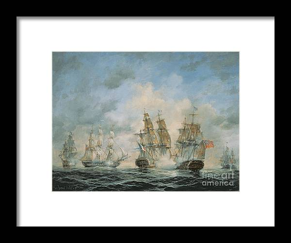 Seascape; Navel; Sea; Ship; Ships; Navel Engagement; Flag; Flags; Cloud; Clouds; Battle; Battling; Sailing; Sailing Ships Framed Print featuring the painting 19th Century Naval Engagement In Home Waters by Richard Willis