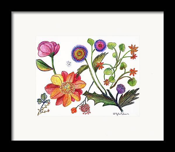 Flowers Nature Botany Drawing Julie Richman Flora Pencil Framed Print featuring the painting Botanical Flower-45 Odd Flowers by Julie Richman