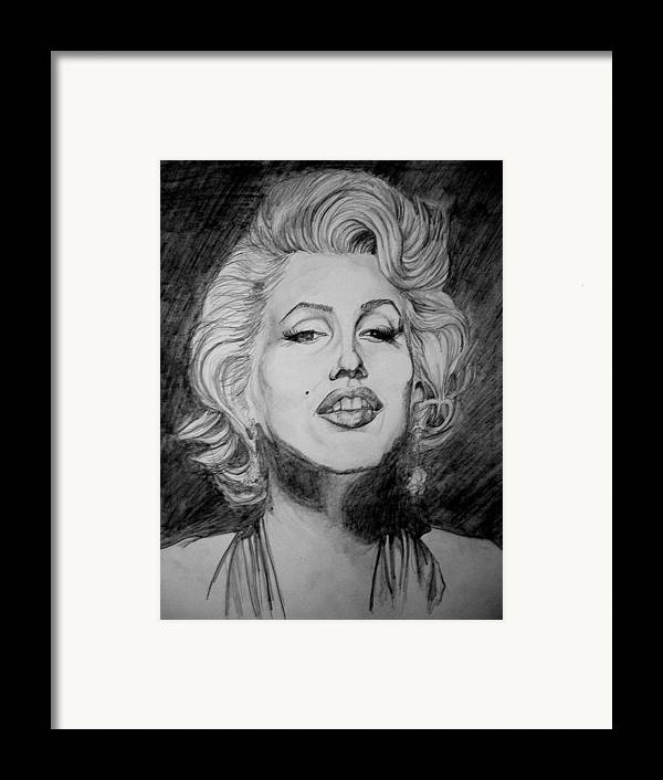 Celeb Portraits Framed Print featuring the drawing Marylin Monroe by Sean Leonard