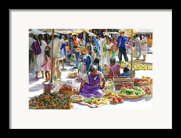 Figures Framed Print featuring the painting Saturday Market by Carolyn Epperly