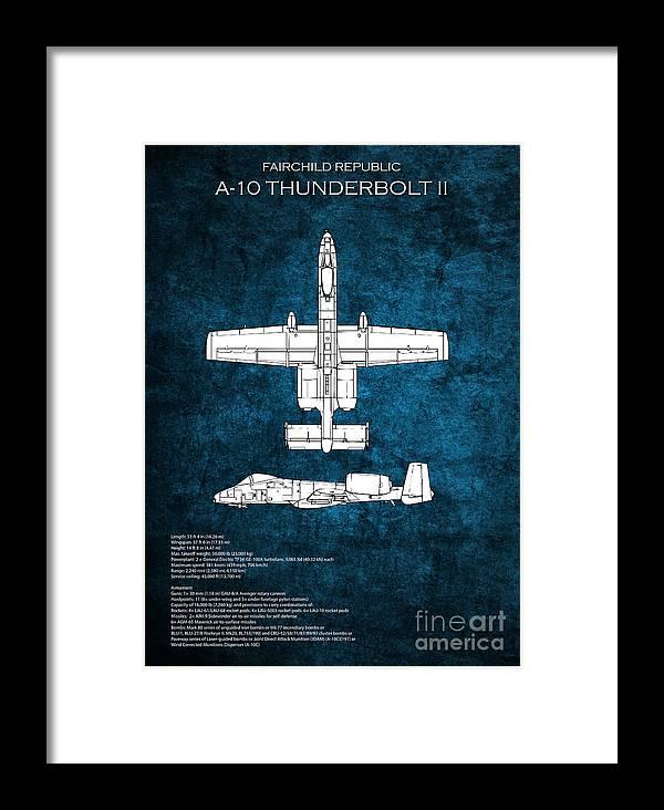 A-10 Framed Print featuring the digital art A-10 Thunderbolt II by J Biggadike