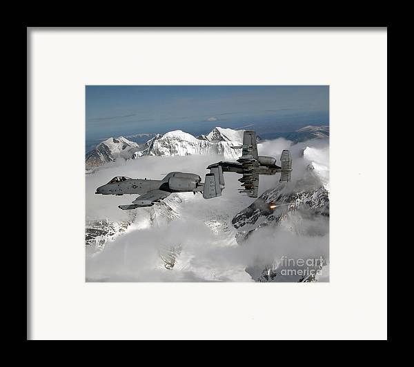 A-10 Framed Print featuring the photograph A-10 Thunderbolt IIs Fly by Stocktrek Images