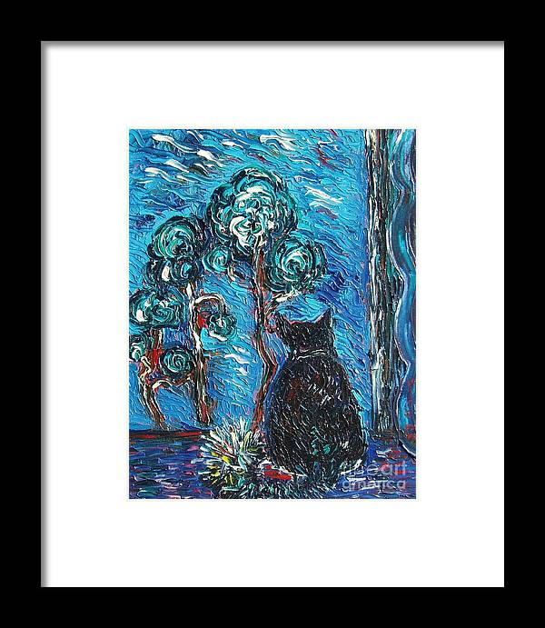Cat Paintings Framed Print featuring the painting A Black Cat by Seon-Jeong Kim