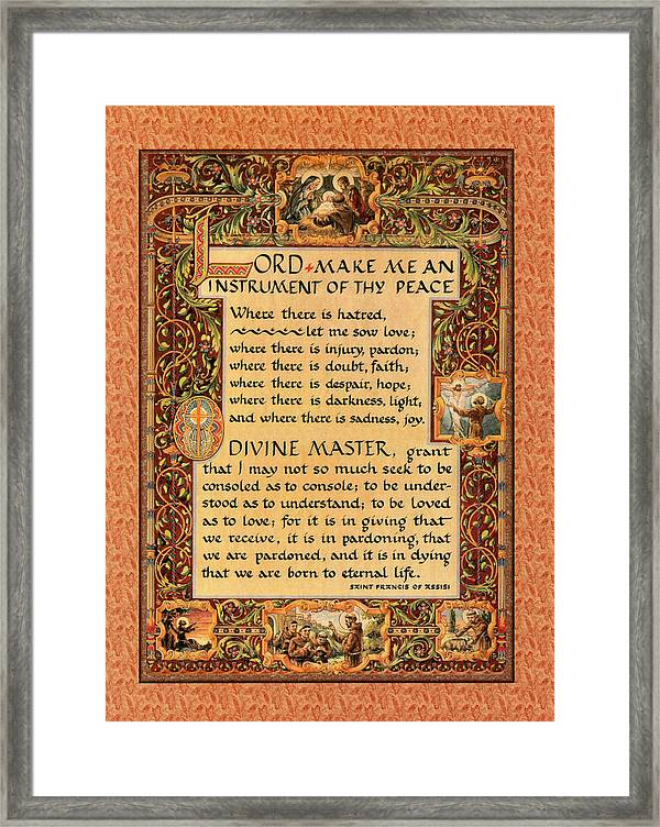 image relating to St Francis Prayer Printable titled A Basic Prayer For Leisure Through St. Francis Of Assisi. Towards 15 17 Toward Paris Video clip. Framed Print