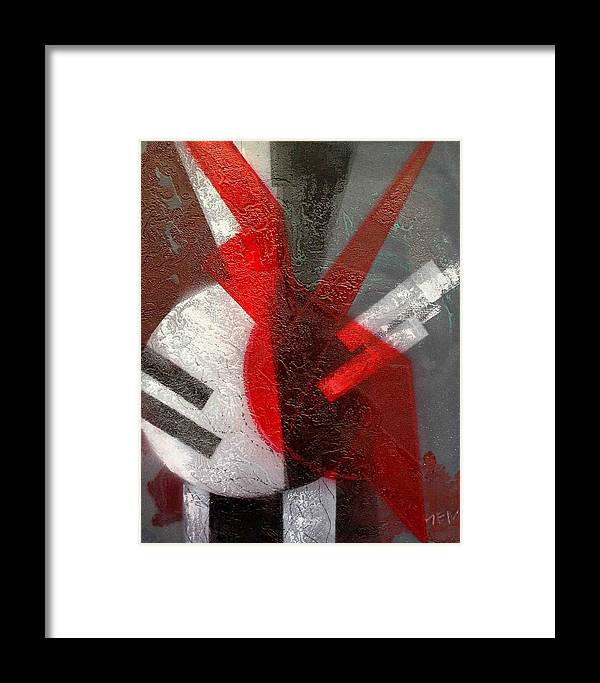 Abstract Framed Print featuring the painting 2 Abstract Vases by Evguenia Men