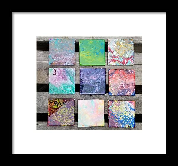 Coasters Acrylic Pouring Handmade One Of A Kind Spring Colors Framed Print featuring the ceramic art Acrylic Pouring by Melanie Gomez