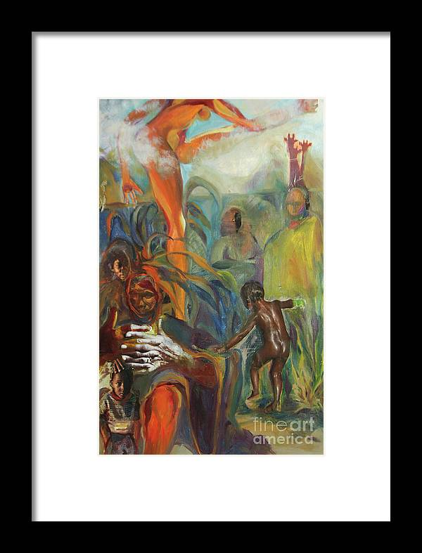 Collage Framed Print featuring the mixed media Ancestor Dance by Daun Soden-Greene
