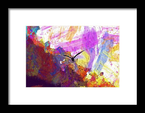 Animal Framed Print featuring the digital art Animal Sky Cloud Sea Gull Seagull by PixBreak Art