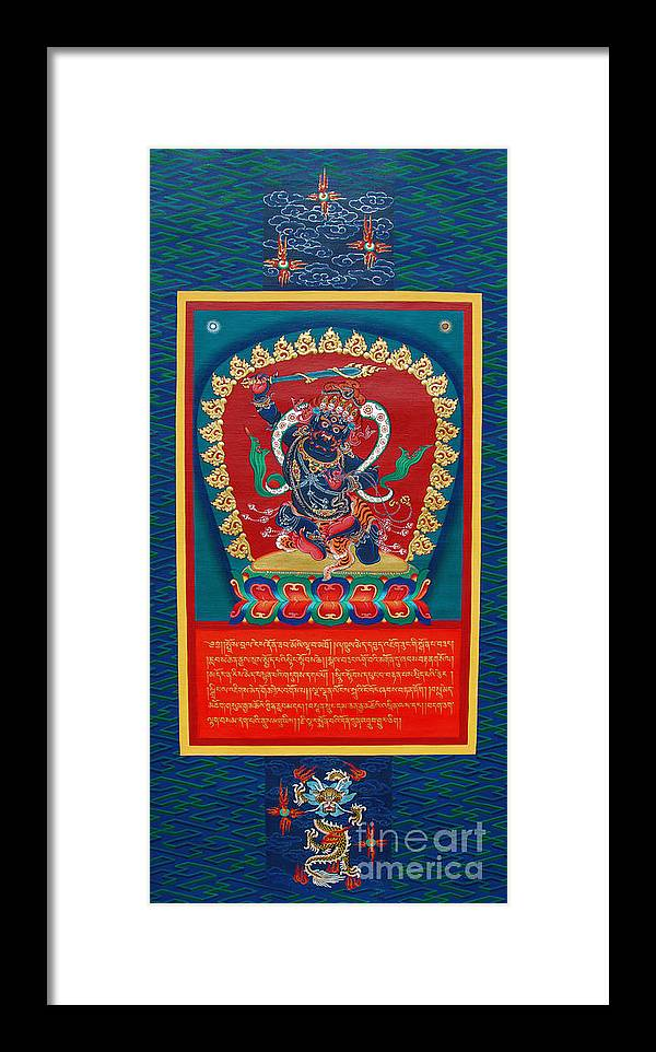 Thangka Framed Print featuring the painting Arya Achala - Immovable One by Sergey Noskov