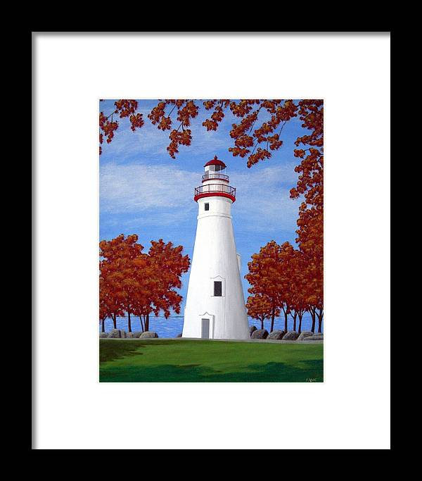 Lighthouse Paintings Framed Print featuring the painting Autumn At Marblehead by Frederic Kohli