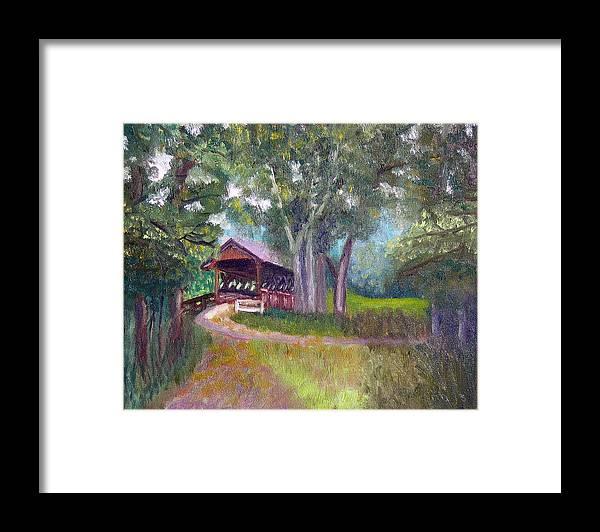 Plein Air Framed Print featuring the painting Avon Covered Bridge by Stan Hamilton