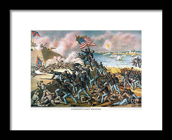 1863 Framed Print featuring the photograph Battle Of Fort Wagner, 1863 by Kurz and Allison