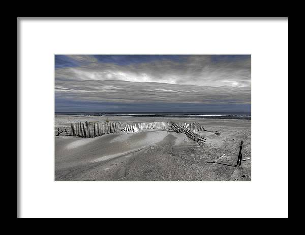 Landscape Framed Print featuring the photograph Beach Fence by Mike Deutsch
