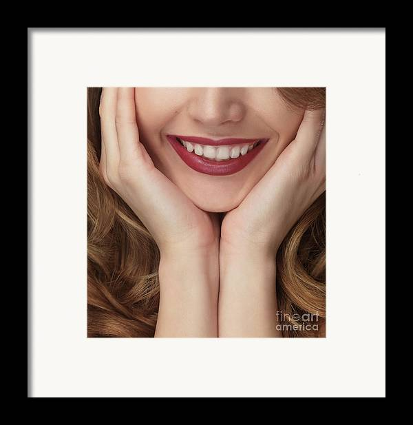 Smile Framed Print featuring the photograph Beautiful Young Smiling Woman by Oleksiy Maksymenko