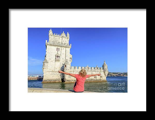 Lisbon Framed Print featuring the photograph Belem Tower Tourism by Benny Marty