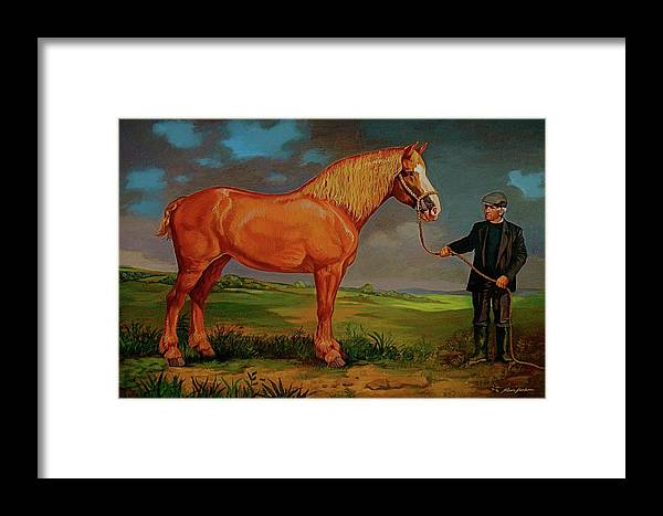 Belgian Draft Horse Irish Green Country. Framed Print featuring the painting Belgian Draft Horse. by Alan Carlson