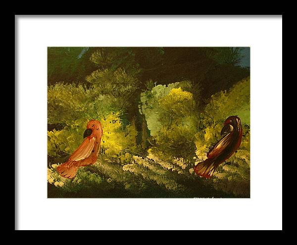 Birds Framed Print featuring the painting 2 Birds by Keyon McGruder