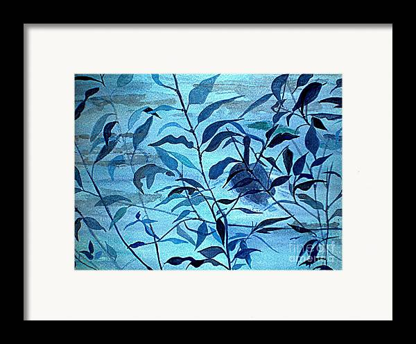 Blue Framed Print featuring the painting Blue On Blue by Vivian Mosley