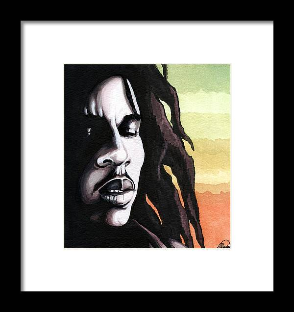 Stars Framed Print featuring the painting Bob Marley Portrait by Alban Dizdari