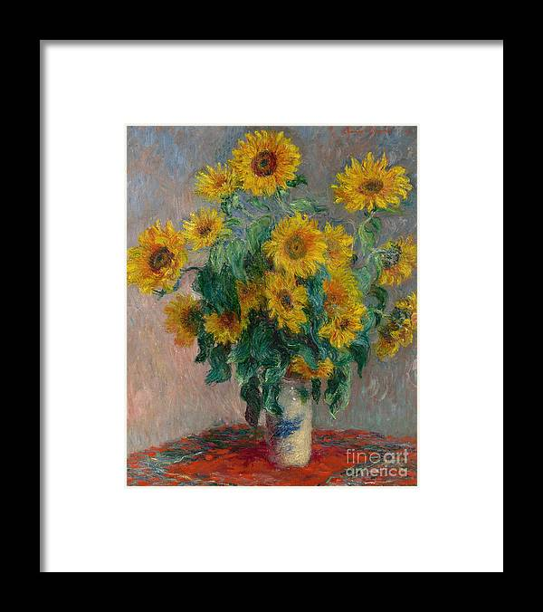 Monet Framed Print featuring the painting Bouquet of Sunflowers by Claude Monet