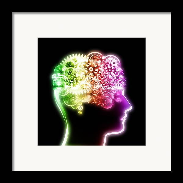 Art Framed Print featuring the photograph Brain Design By Cogs And Gears by Setsiri Silapasuwanchai
