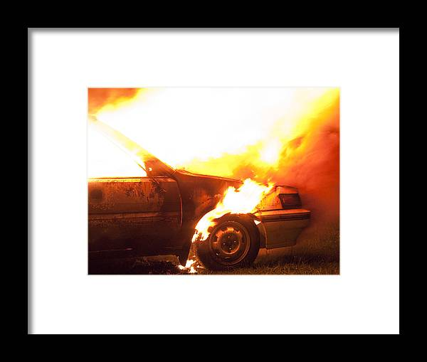 Fire Framed Print featuring the photograph Burning Car by Ian Rasmussen