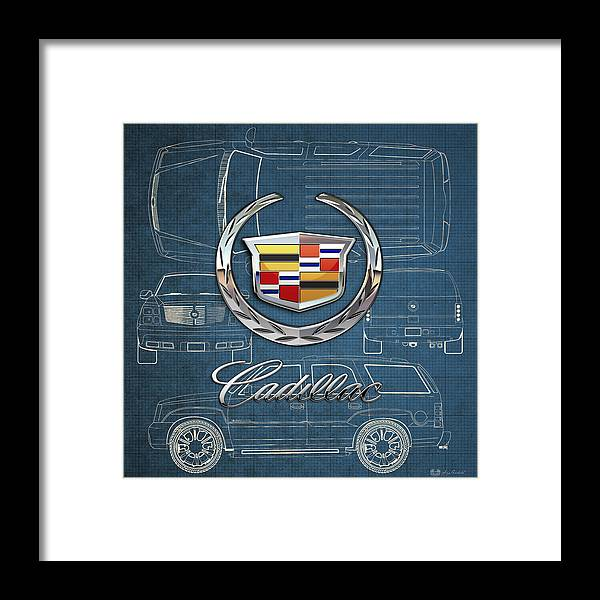 'wheels Of Fortune' By Serge Averbukh Framed Print featuring the photograph Cadillac 3 D Badge over Cadillac Escalade Blueprint by Serge Averbukh